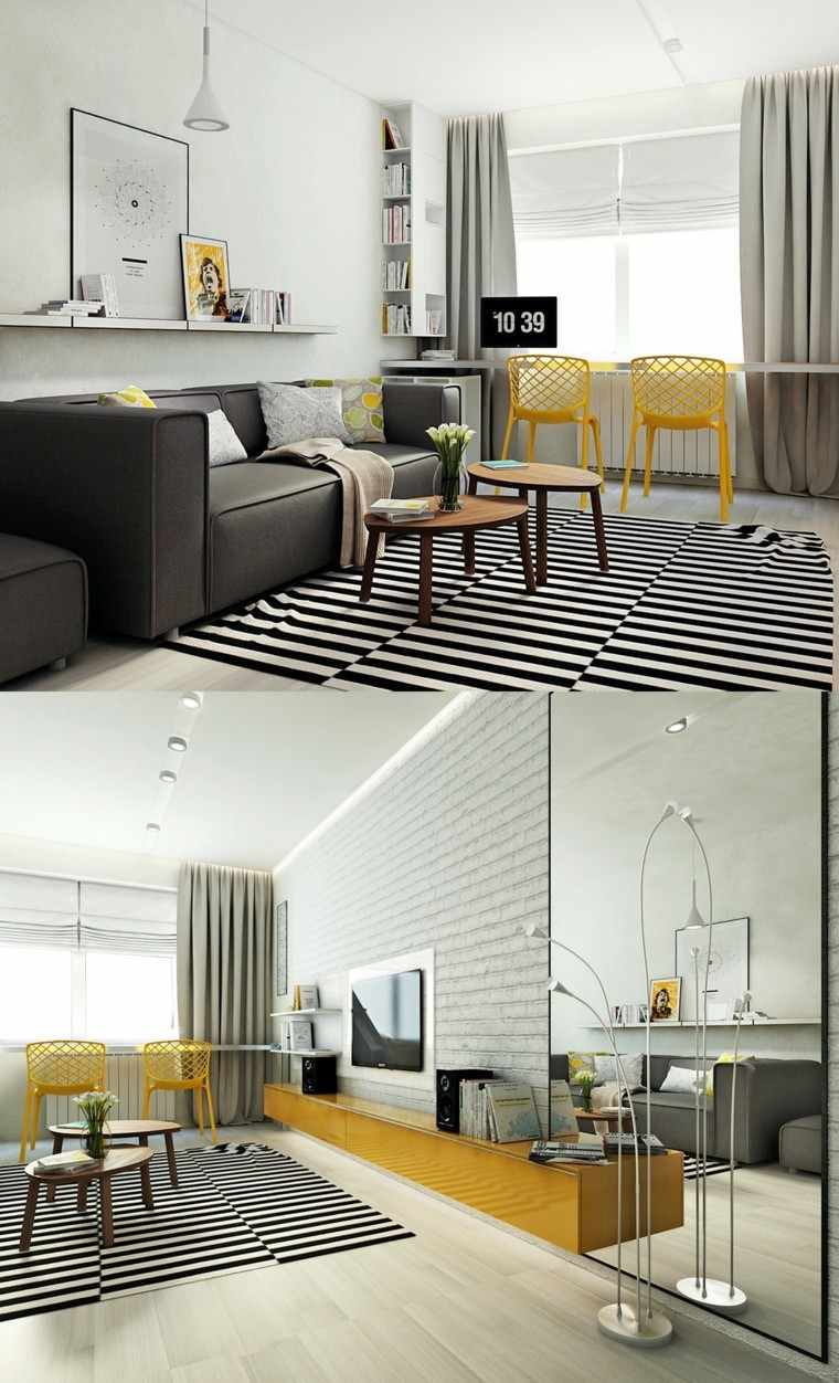 moderno estilo diseño maderas rayas cortinas