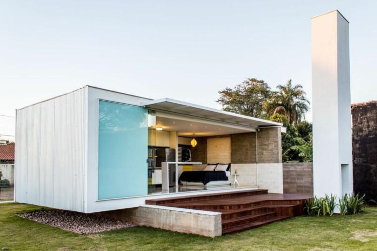 modulo casa moderna blanca chimenea