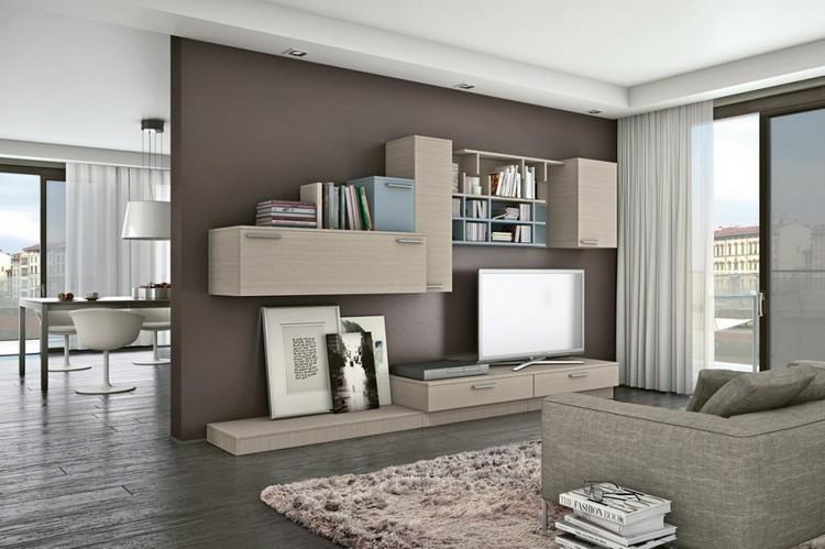 modulo estantes madera color beige