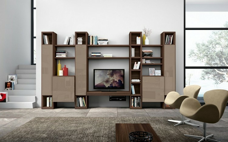 mueble modular marron madera