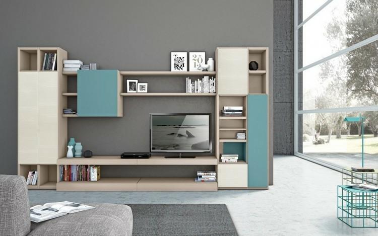 mueble modular puertas azules