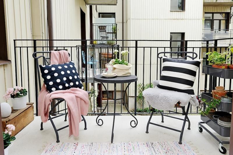 muebles balcon terraza bonitos moderna acero negro ideas