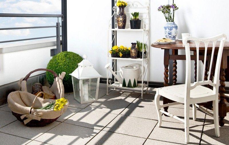 muebles balcon terraza bonitos moderna color blanco ideas