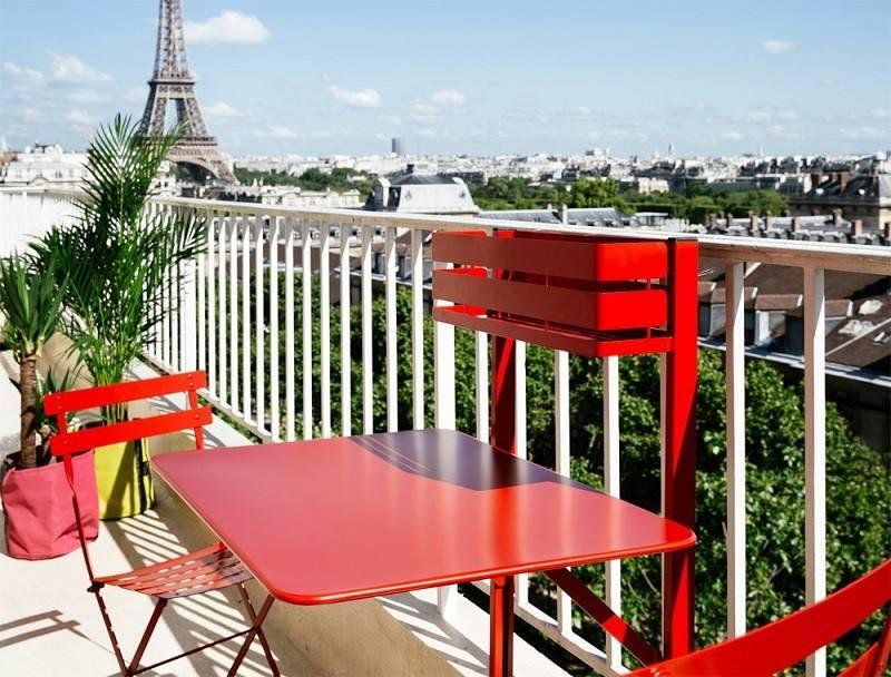muebles balcon terraza bonitos moderna color rojo vibrante ideas