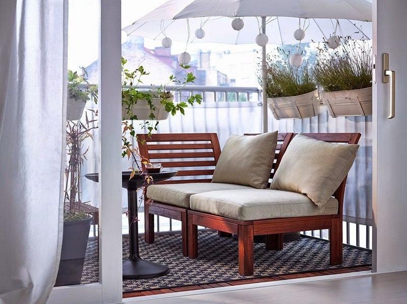 muebles balcon terraza bonitos moderna sombrilla blanca ideas