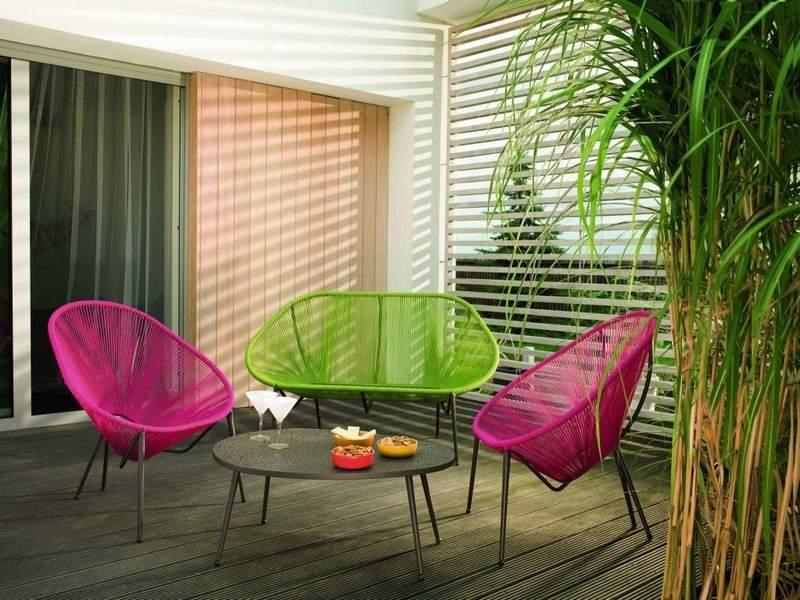 muebles bonitos balcon terraza moderna colores vibrantes ideas