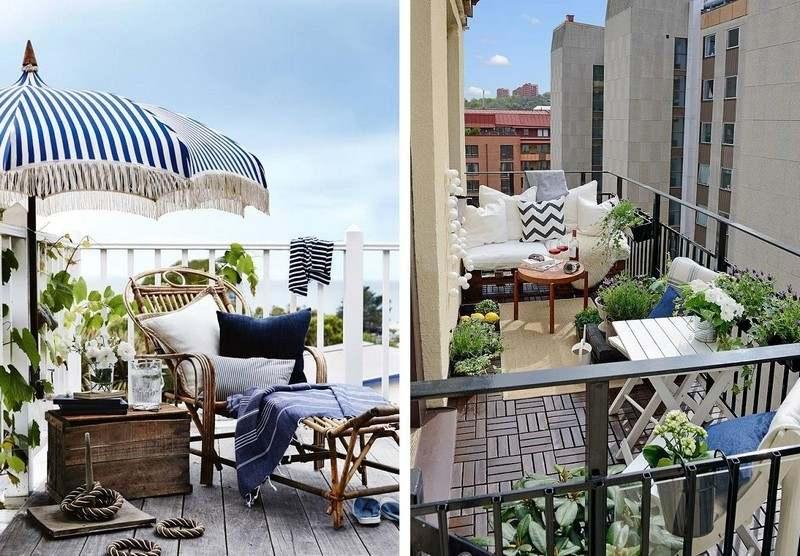muebles bonitos balcon terraza moderna tumbona sombrilla ideas