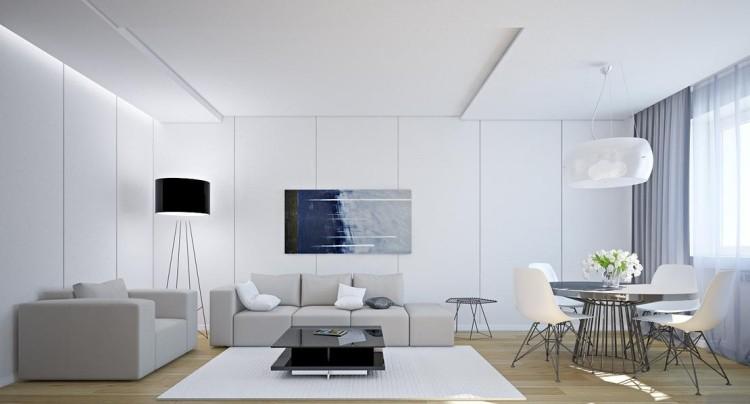 Muebles de sal n blanco y negro 50 ideas atrevidas - Salon moderno blanco ...