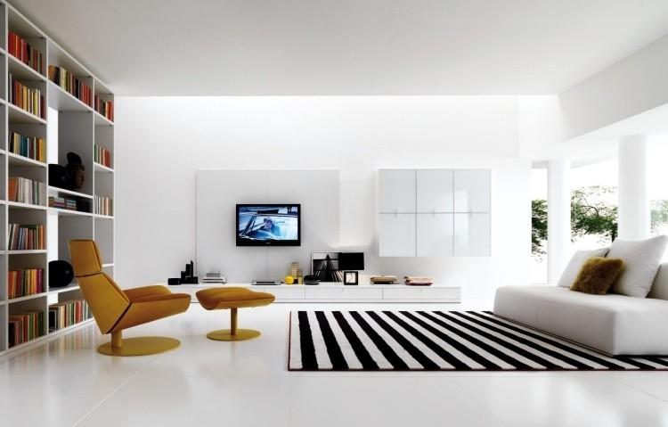 muebles de salón blanco alfombra rayas ideas