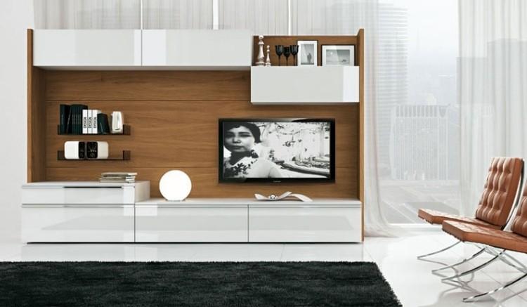 muebles de salon blanco armario madera ideas