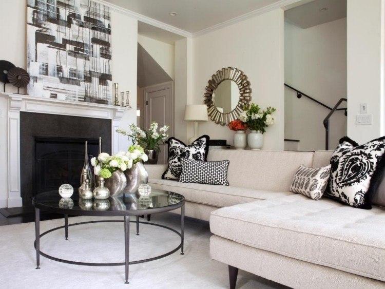 muebles de salon blanco chimenea ideas