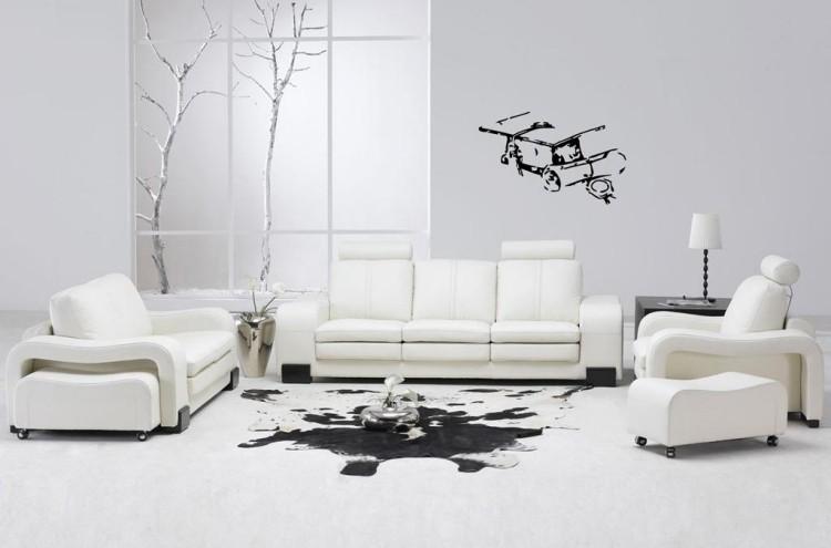 muebles de salón blanco decoracion pared negro ideas