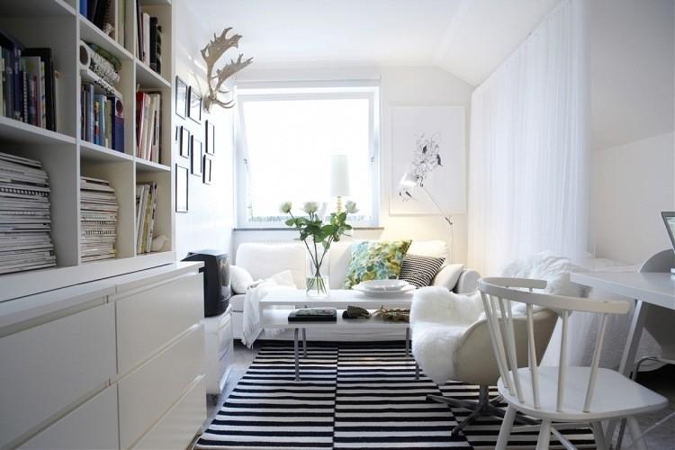 muebles de salon blanco largo estrecho ideas