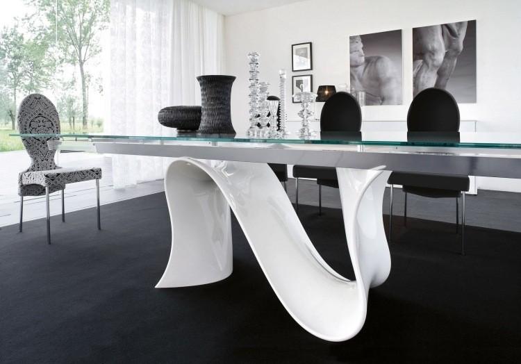 Muebles de sal n blanco y negro 50 ideas atrevidas - Mesa salon diseno ...