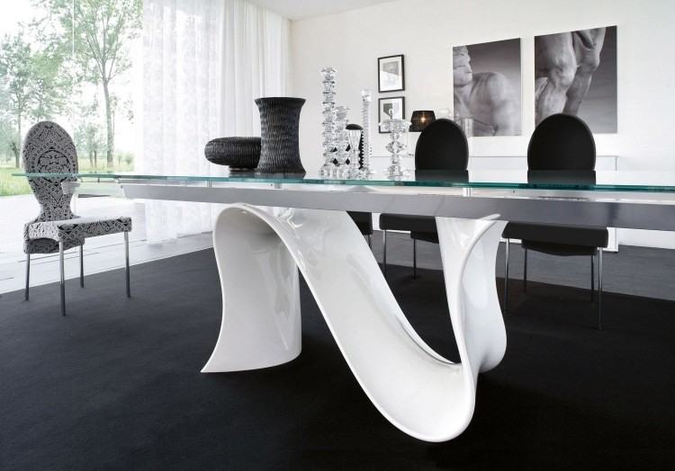 muebles de salón blanco mesa diseno ideas