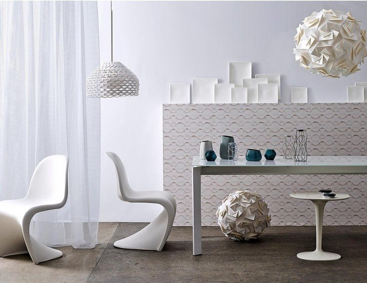 muebles de salón blanco mesa sillas lampara marcos ideas