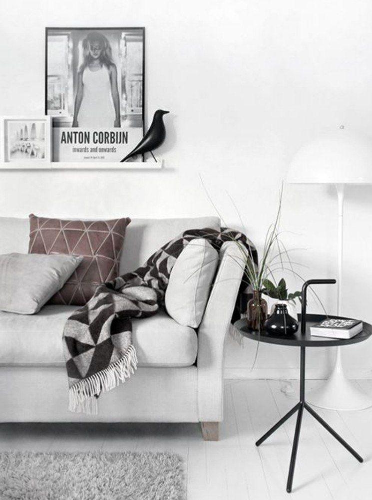 muebles de salón blanco mesita acero ideas