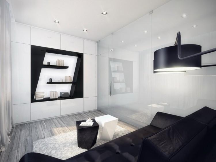 muebles de salón blanco negro mesitas ideas