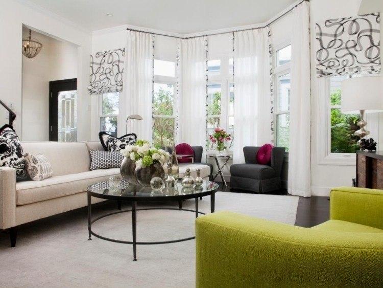 muebles de salón blanco negro verde ideas