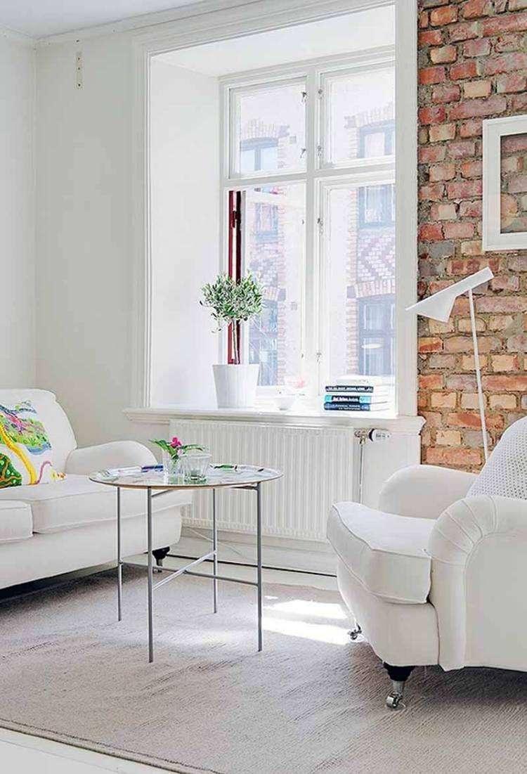 muebles de salón blanco pared ladrillo ideas