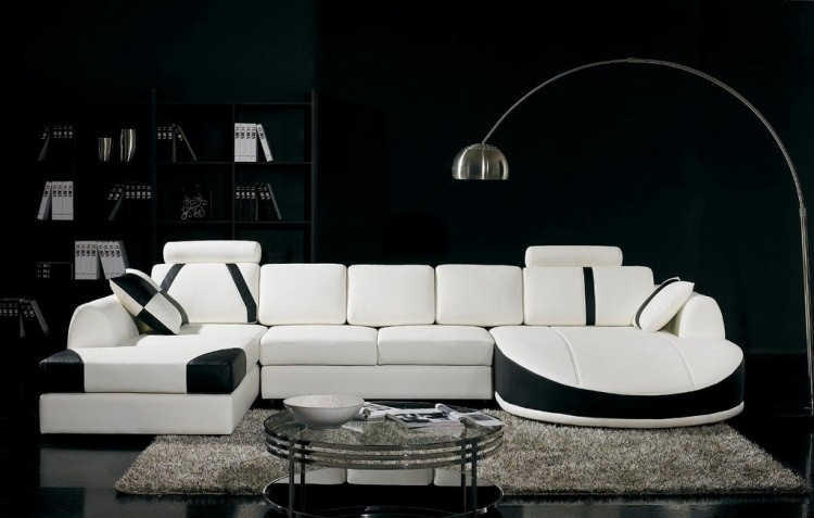 muebles de saln blanco pared negra ideas