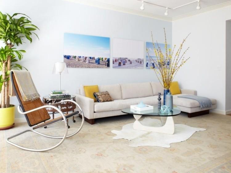 muebles de salon blanco sofa mesa cristal ideas