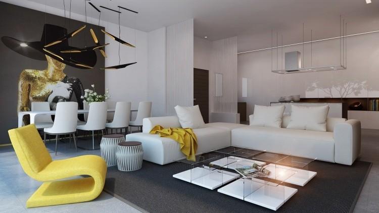 muebles de salon blanco sofas mesa alfombra ideas