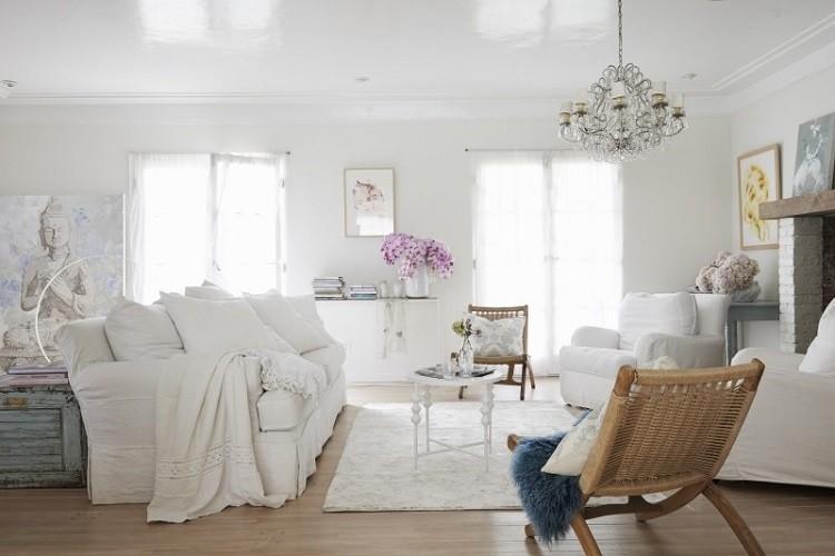 muebles de salón estilo shabbi chic vintage blanco ideas