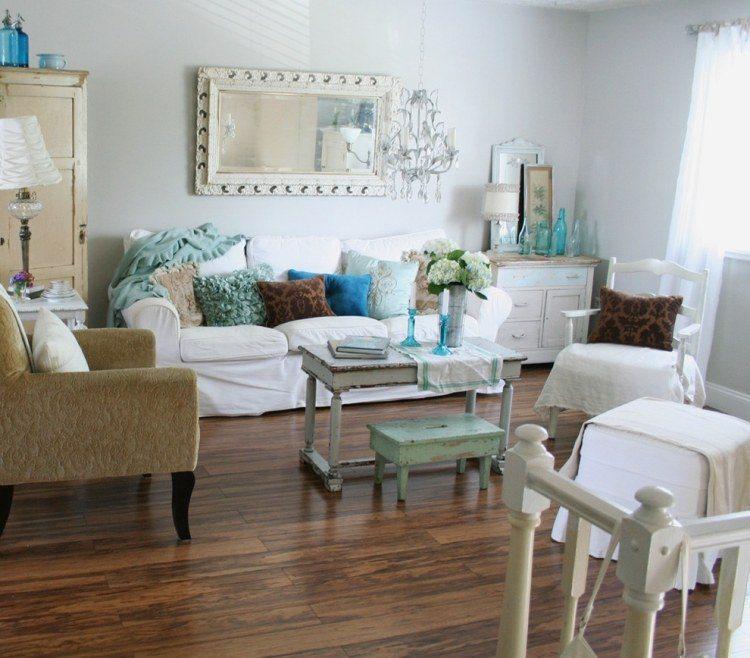 muebles de saln estilo shabby chic y vintage y azules