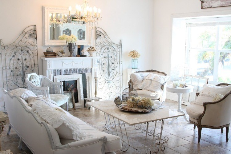 muebles de salón estilo shabbi chic vintage decoraciones acero ideas