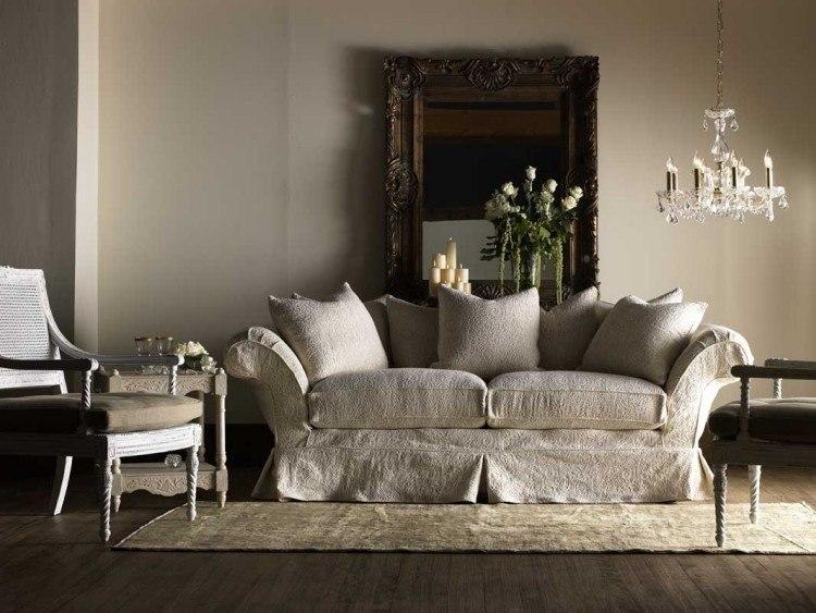 muebles de salón estilo shabbi chic vintage espejo marron ideas
