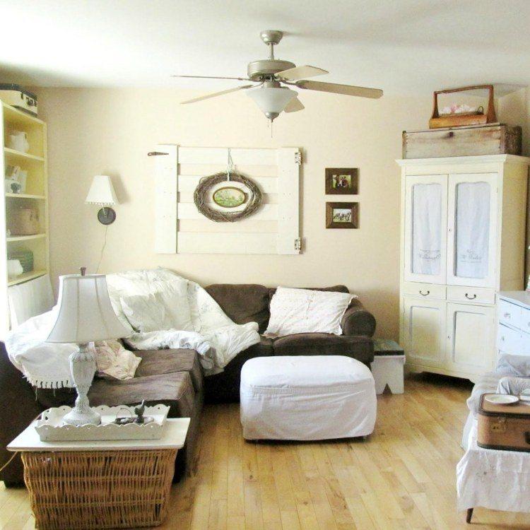 muebles de salón estilo shabbi chic vintage madera blanca pared ideas
