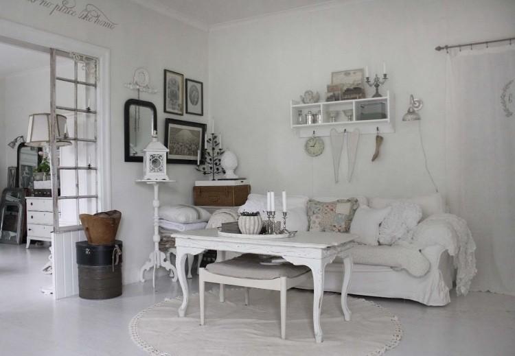 muebles de salón estilo shabbi chic vintage mesa madera ideas
