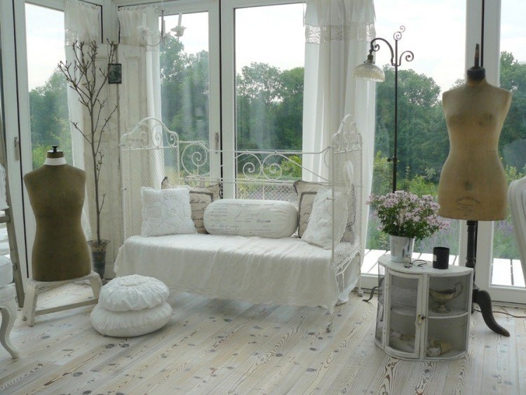 muebles salon estilo shabbi chic vintage sofa acero blanco ideas