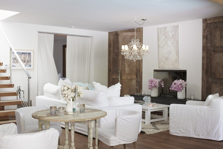muebles salon estilo shabbi chic vintage sofa blanca ideas
