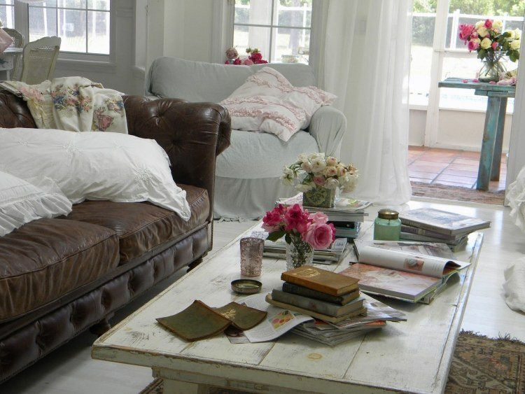 muebles salon estilo shabbi chic vintage sofa marron ideas