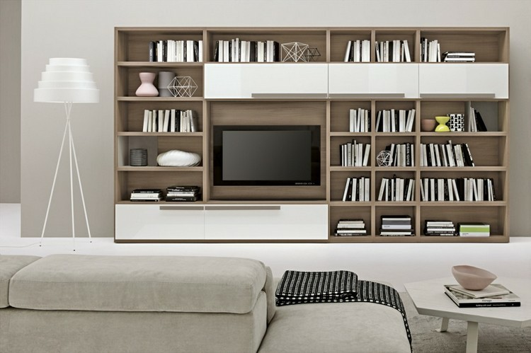estanterias modulares para salones modernos 38 ideas. Black Bedroom Furniture Sets. Home Design Ideas