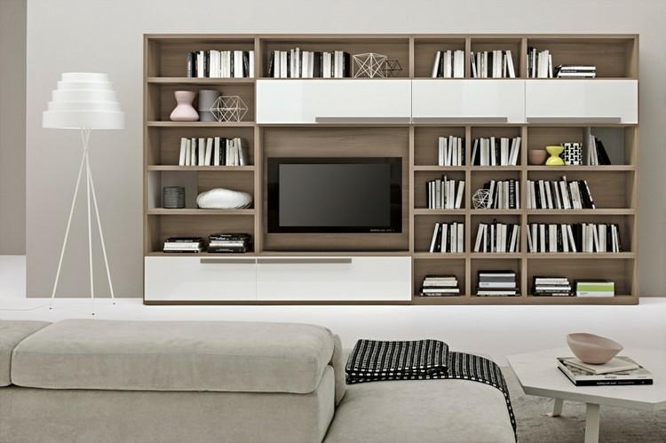 Estanterias modulares para salones modernos 38 ideas - Muebles para libros modernos ...