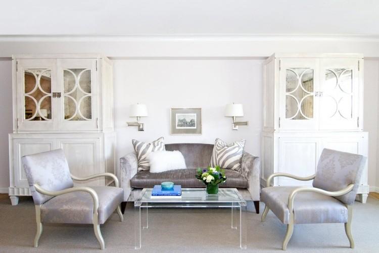 muebles salon blanco armarios puertas cristal ideas