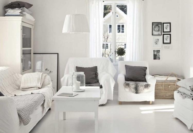 muebles salon blanco cojines grises ideas