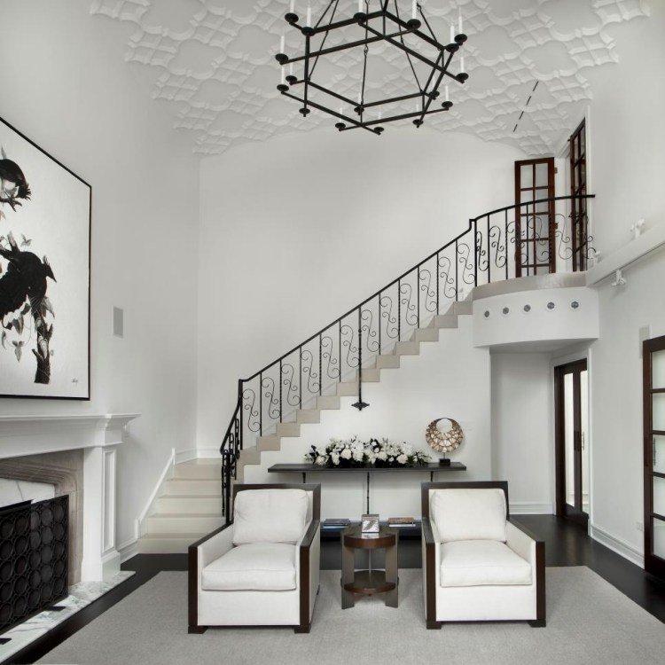muebles salon blanco lamapara acero ideas