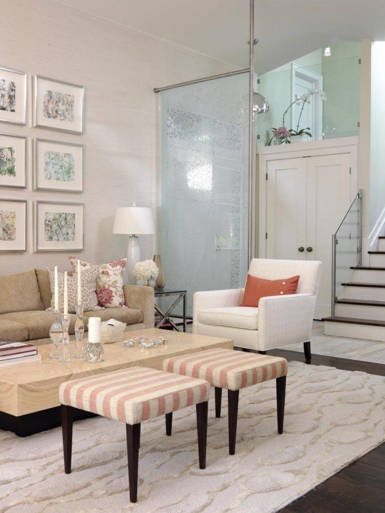 muebles salon blanco mesa marmol ideas
