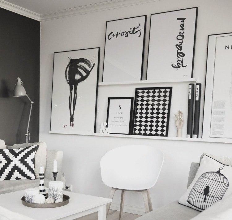 muebles salon blanco negro cuadros ideas