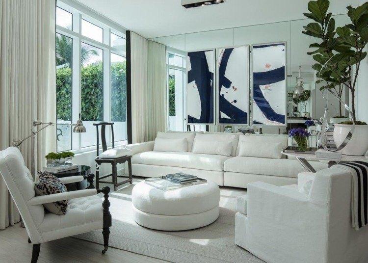 muebles salon blanco otomana ideas