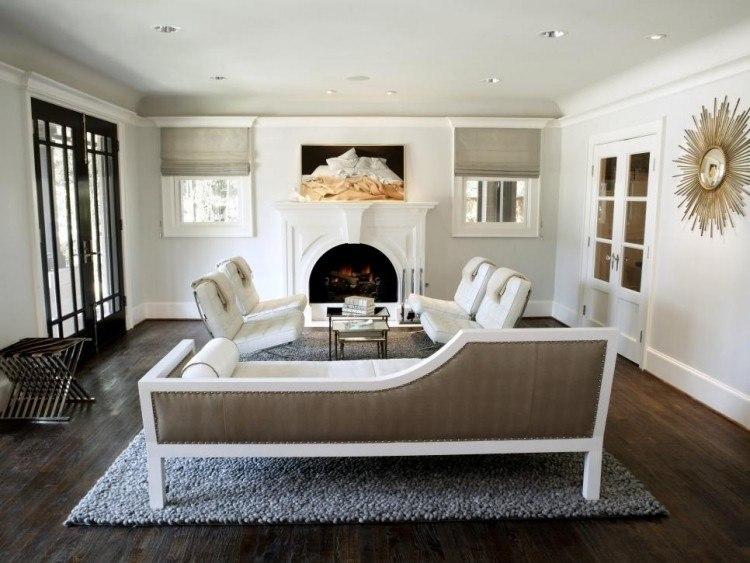muebles salon blanco reloj oro ideas