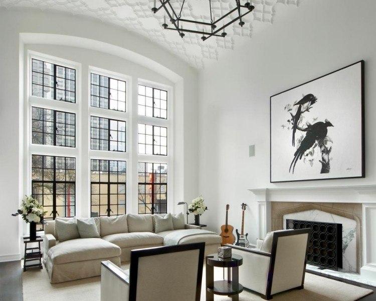 muebles salon blanco ventanales ideas