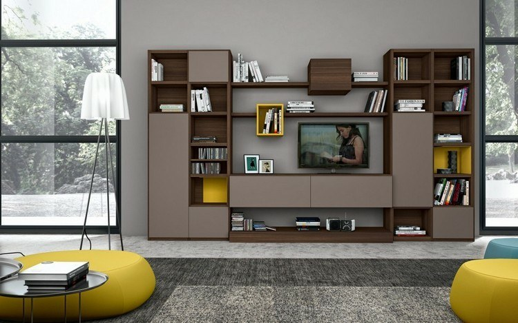 Estanterias modulares para salones modernos 38 ideas - Muebles salon madera ...