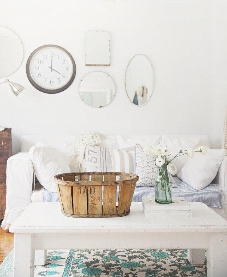 muebles salon estilo shabbi chic vintage alfombra colores ideas