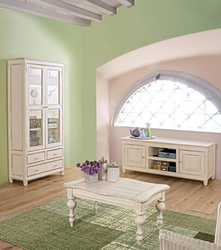 muebles salon estilo shabbi chic vintage armario alfombra verde ideas
