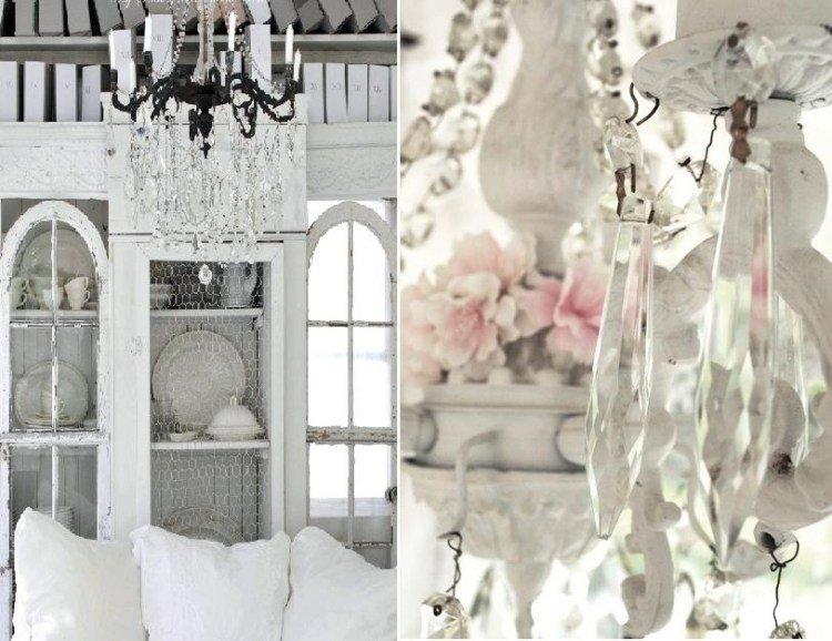 muebles salon estilo shabbi chic vintage candelabro lagrimas ideas